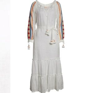 NWT Tory Burch Embroidered Peasant Maxi Dress